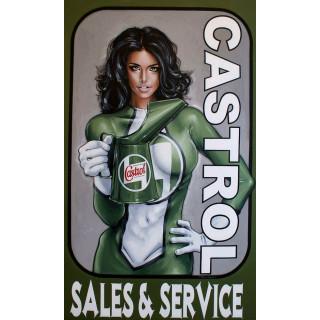 Castrol sales service pin up vintage garage  metal tin sign wall plaque