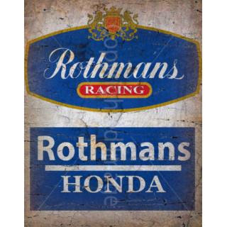 Rothmans Racing Honda vintage garage metal tin sign wall plaque