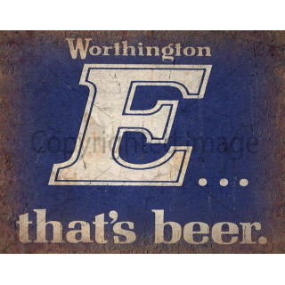 Worthington's E Beer vintage pub metal tin sign