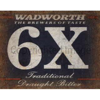 Wadworth 6X Beer   vintage metal tin sign wall plaque