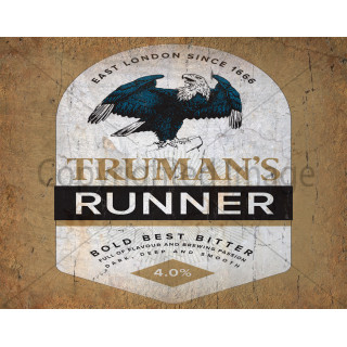 Truman's Runner Beer  vintage metal tin sign wall plaque