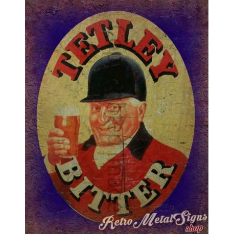 Tetley's Bitter Beer   vintage metal tin sign wall plaque