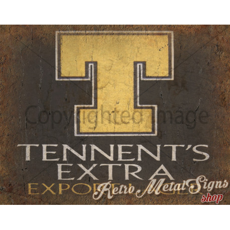 Tennent's Extra Beer   vintage metal tin sign wall plaque