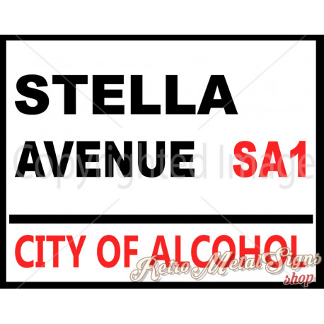 Stella Avenue    vintage metal tin sign wall plaque