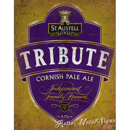 St Austell Tribute Ale Beer   vintage metal tin sign wall plaque