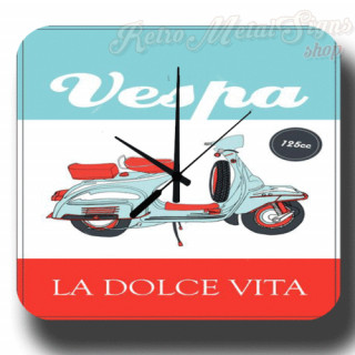 Vespa Dolce Vita vintage retro metal tin sign wall clock