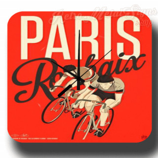 Paris Roubaix 1953 cycling vintage retro metal tin sign wall clock