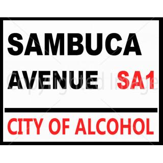 Sambuca Avenue street  vintage metal tin sign wall plaque