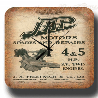 J.A.P motor engines spares repairs metal tin sign wall clock