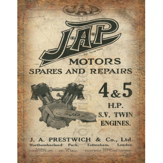 J.A.P motor engines spares repairs vintage retro metal tin sign