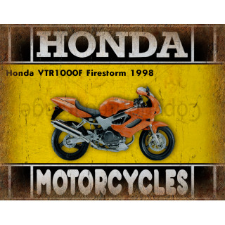 Honda VTR1000F Firestorm 1998 advertising plaque metal tin sign poster garage advertising plaque metal tin sign poster