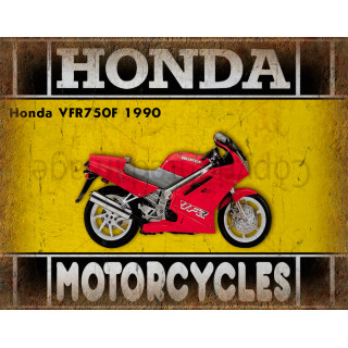 Honda VFR750F 1990  motorcycle dvertising plaque metal tin sign poster