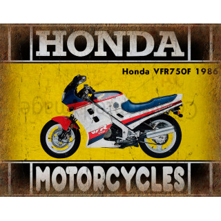 Honda VFR750F 1986  motorcycle dvertising plaque metal tin sign poster