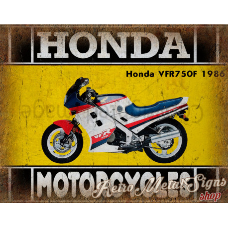 Honda VFR750F 1986 motorcycle plaque metal tin sign poster
