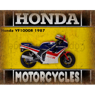 Honda VF1000R 1987 motorcycle dvertising plaque metal tin sign poster
