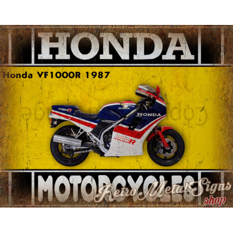 Honda VF1000R 1987 motorcycle plaque metal tin sign poster