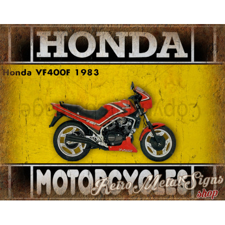 Honda VF400F 1983  motorcycle plaque metal tin sign poster