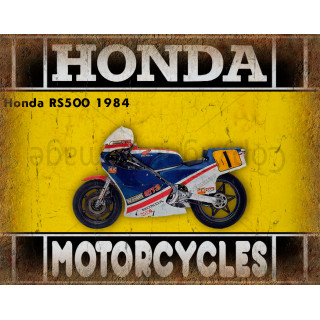 Honda RS500 1984  motorcycle advertising plaque metal tin sign poster