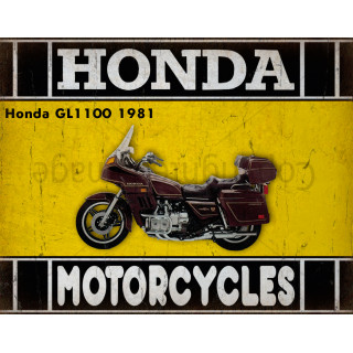 Honda GL1100 1981 motorcycle dvertising plaque metal tin sign poster