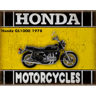 Honda GL1000 1978 motorcycle dvertising plaque metal tin sign poster