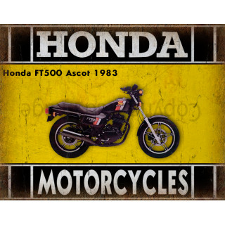Honda FT500 Ascot 1983 motorcycle dvertising plaque metal tin sign poster