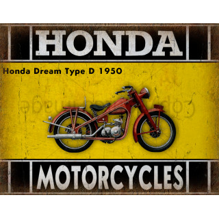 Honda Dream Type D 1950 motorcycle dvertising plaque metal tin sign poster