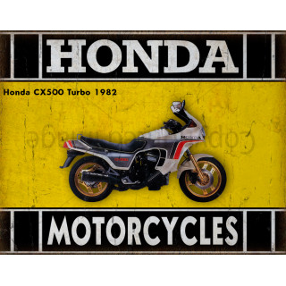 Honda CX500 Turbo 1982    motorcycle  plaque metal tin sign poster