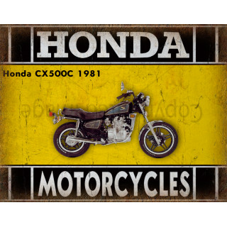 Honda CX500C 1981    motorcycle  plaque metal tin sign poster