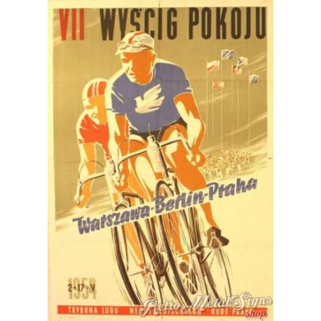 Wyscig Pokoju polish cycling vintage metal tin sign wall plaque