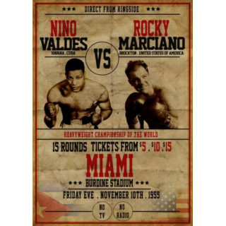 Nino Valdes vs Rocky Marciano  boxing metal tin sign wall plaque