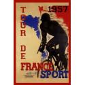 Tour De France 1957  vintage metal tin sign wall plaque
