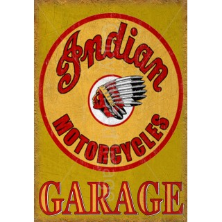 Indian worlds fastest motorcycle vintage garage advertising plaque metal tin sign poster