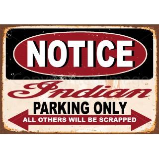 Indian motorcycles parking only  vintage garage advertising plaque metal tin sign poster