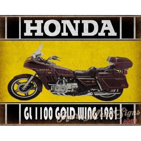 1981 Honda Gold Wing Gl1100  classic motorcycle  vintage garage advertising plaque metal tin sign poster