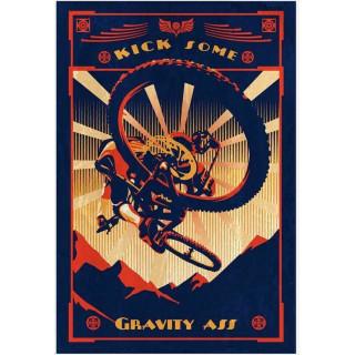 Kick Some Gravity Ass mountain bike vintage metal tin sign wall plaque