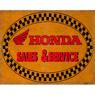Honda motorcycles sales service vintage metal tin sign poster