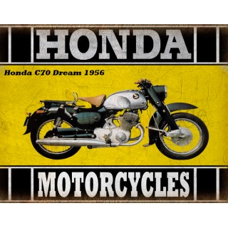 Honda C70 Dream 1956 classic motorcycle  vintage garage advertising plaque metal tin sign poster
