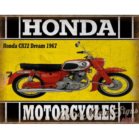 Honda CA72 Dream 1967 classic motorcycle  vintage garage advertising plaque metal tin sign poster