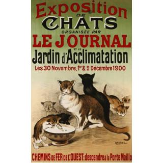 Exposition de Chats (1900) vintage metal tin sign poster plaque