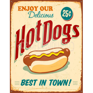 Enjoy  Our Delicious Hot Dogs  vintage food metal tin sign poster