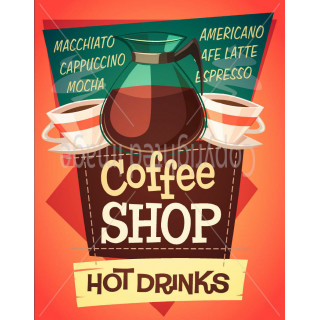 Coffee Shop Hot Drinks   metal tin sign poster wall plaque