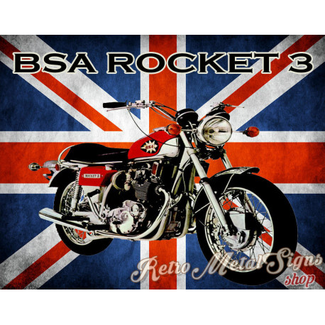 Bsa Rocket 3   motorcycle metal tin sign poster wall plaque