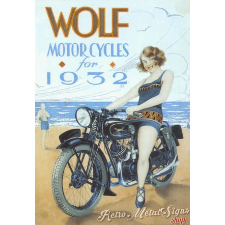 Wolf Motorcycles 1932  vintage metal tin sign poster wall plaque
