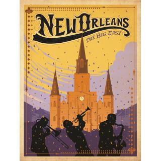 New Orleans   vintage travel metal tin sign poster