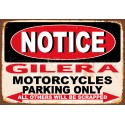 Notice Gilera Motorcycles parking only metal tin sign wall plaque