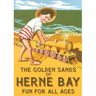 The Golden Sands of Herne Bay  vintage travel metal tin sign poster