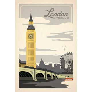 London England  vintage travel metal tin sign poster
