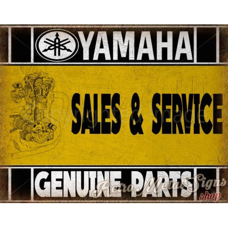 Yamaha motorcycles sales service vintage metal tin sign poster
