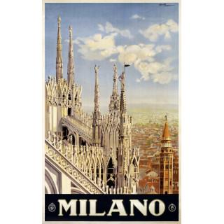 Milano  vintage   travel metal tin sign poster