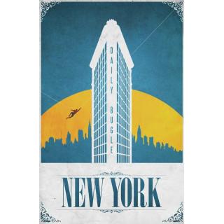 New York    vintage   travel metal tin sign poster